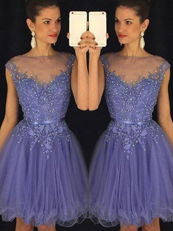Blue Scoop Tulle Short/Mini Homecoming Dresses
