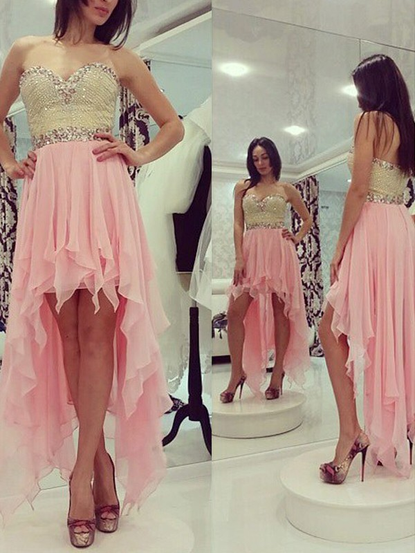 Chiffon Sweetheart Asymmetrical Pink Homecoming Dresses