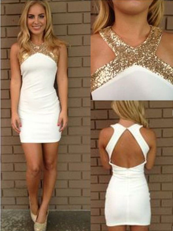 Halter Short/Mini White Homecoming Dresses with Beading
