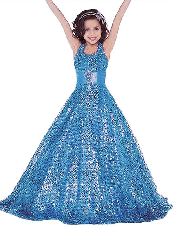 Floor-Length Blue Halter Flower Girl Dresses