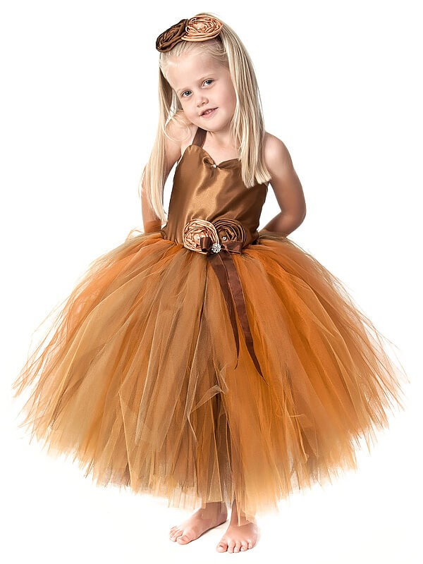 Tulle Straps Tea-Length Orange Flower Girl Dresses
