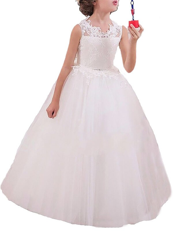 Tulle Jewel Floor-Length White Flower Girl Dresses