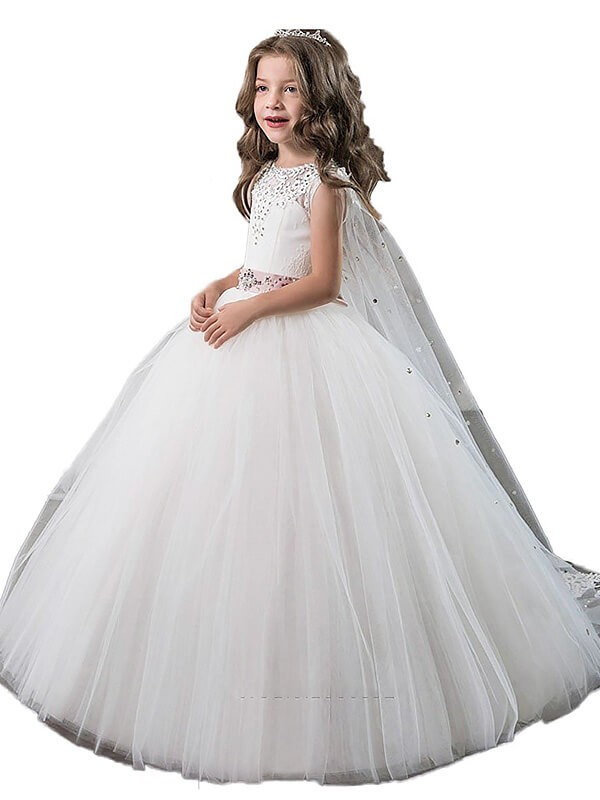 Ball Gown Tulle Jewel Floor-Length Flower Girl Dresses with Beading