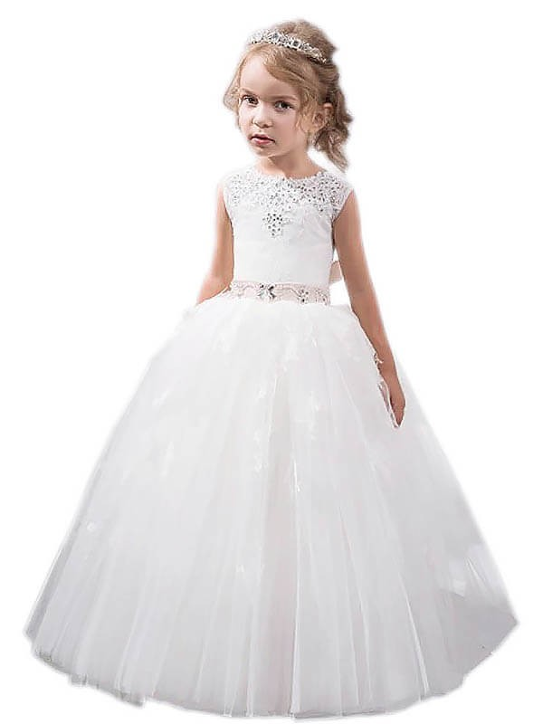 Ball Gown Jewel Floor-Length White Flower Girl Dresses