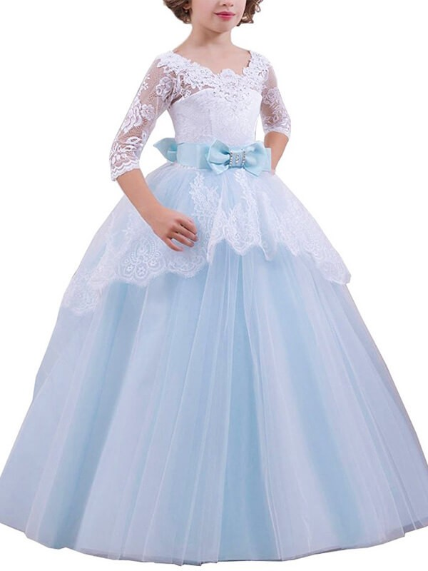 Light Sky Blue Jewel Floor-Length Flower Girl Dresses with Lace
