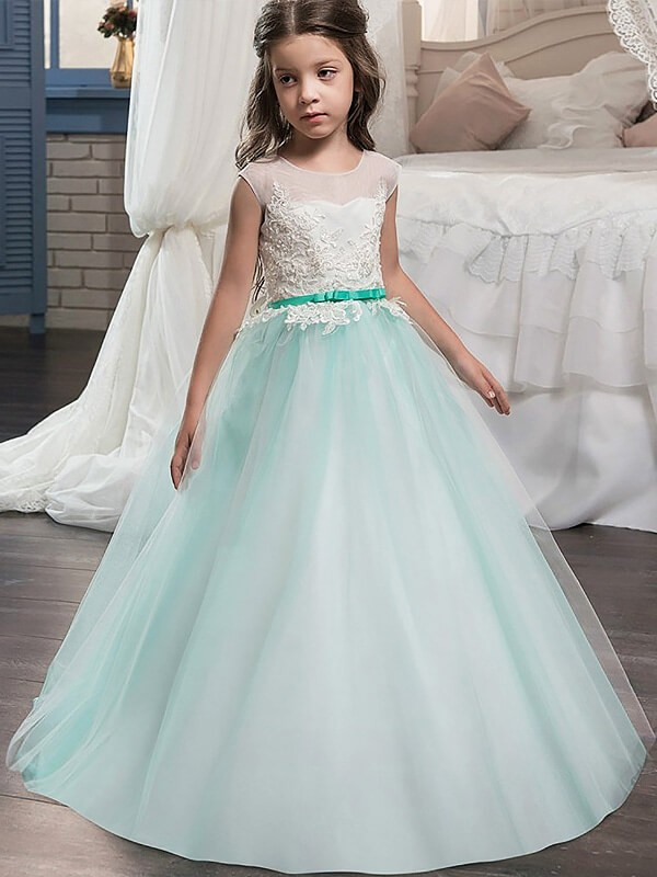 Green Jewel Tulle Floor-Length Flower Girl Dresses