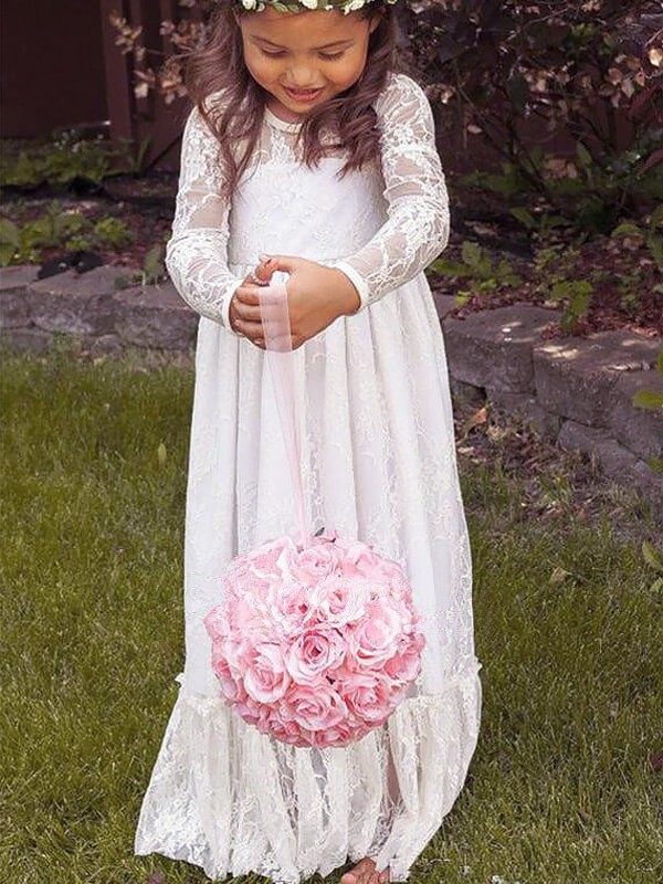 A-Line Lace Long Sleeves Jewel Floor-Length Ivory Flower Girl Dresses