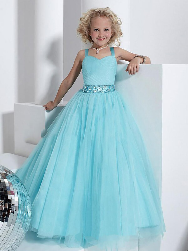 Ball Gown Straps Floor-Length Light Sky Blue Flower Girl Dresses