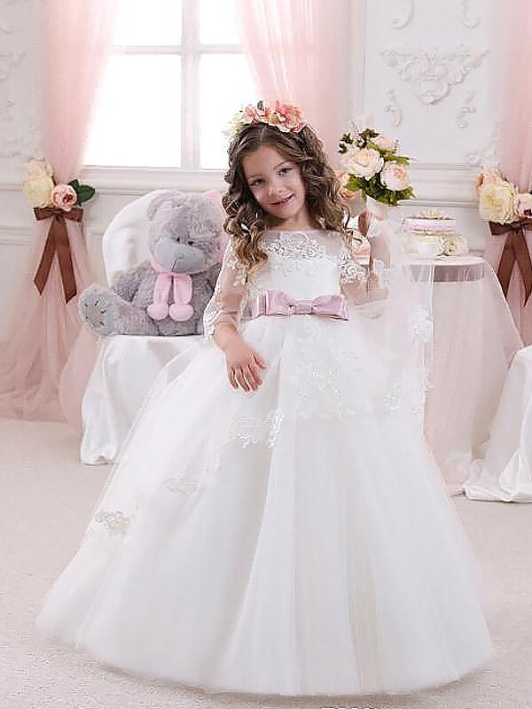 Tulle Half Sleeves Jewel Floor-Length White Flower Girl Dresses