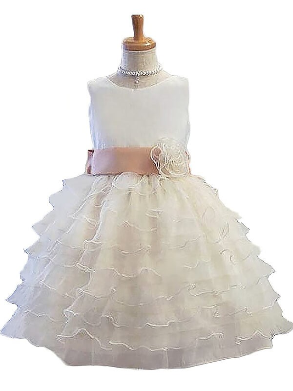 A-Line Jewel Short White Flower Girl Dresses with Hand-Made Flower