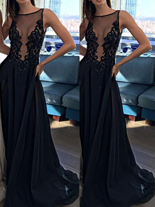 A-Line Bateau Brush Train Black Prom Dresses