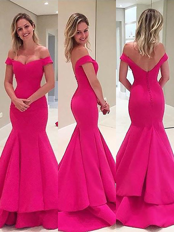Fuchsia Mermaid Off-the-Shoulder Brush Train Prom Dresses with Layers