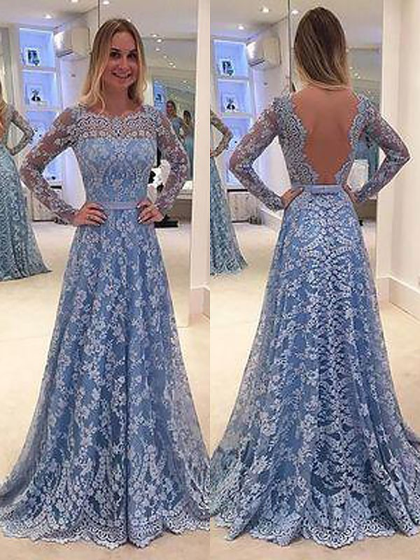 A-Line Lace Long Sleeves Bateau Floor-Length Light Sky Blue Prom Dresses