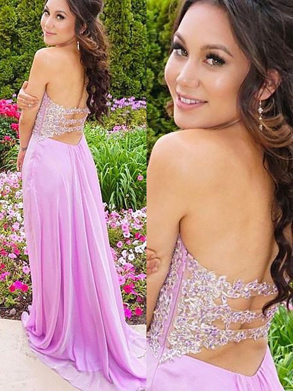 A-Line Sweetheart Brush Train Lilac Prom Dresses with Applique