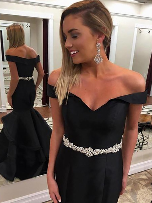 Satin Mermaid Brush Train Off-the-Shoulder Black Prom Dresses