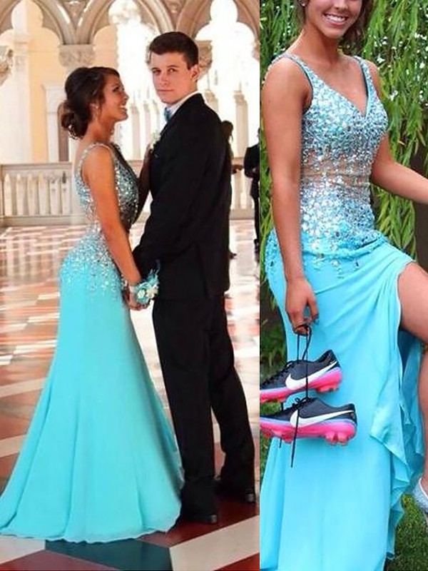 Chiffon V-neck Brush Train Light Sky Blue Prom Dresses