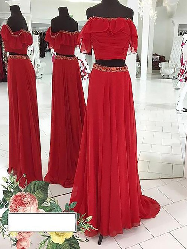 A-Line Chiffon Off-the-Shoulder Floor-Length Prom Dresses with Beading