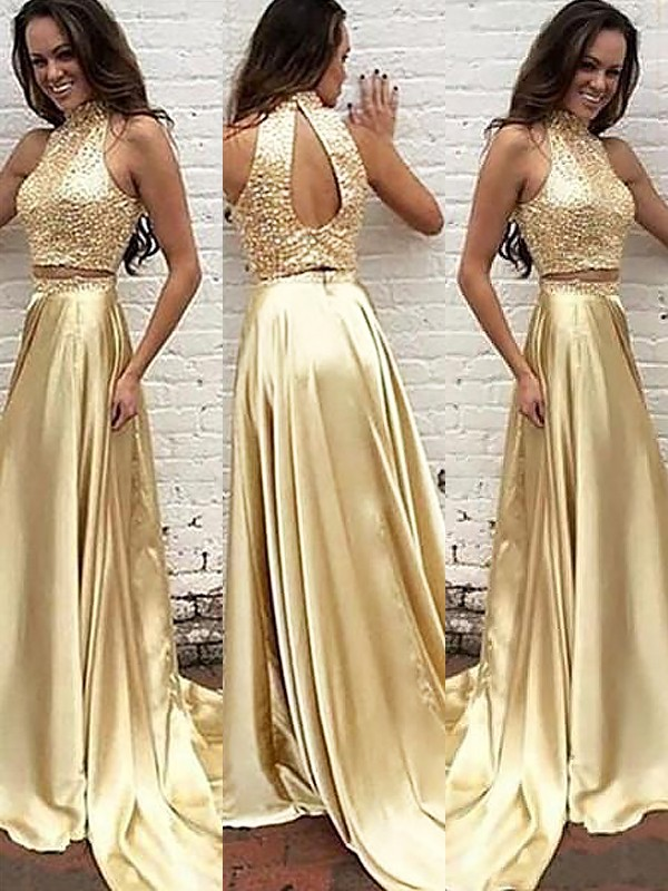 A-Line High Neck Brush Train Gold Prom Dresses with Beading