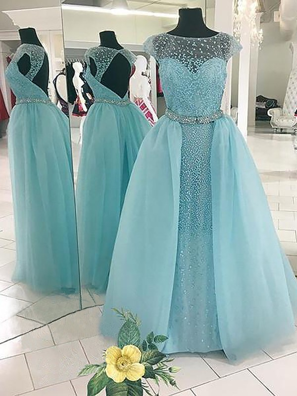 Light Sky Blue Bateau Tulle Floor-Length Prom Dresses