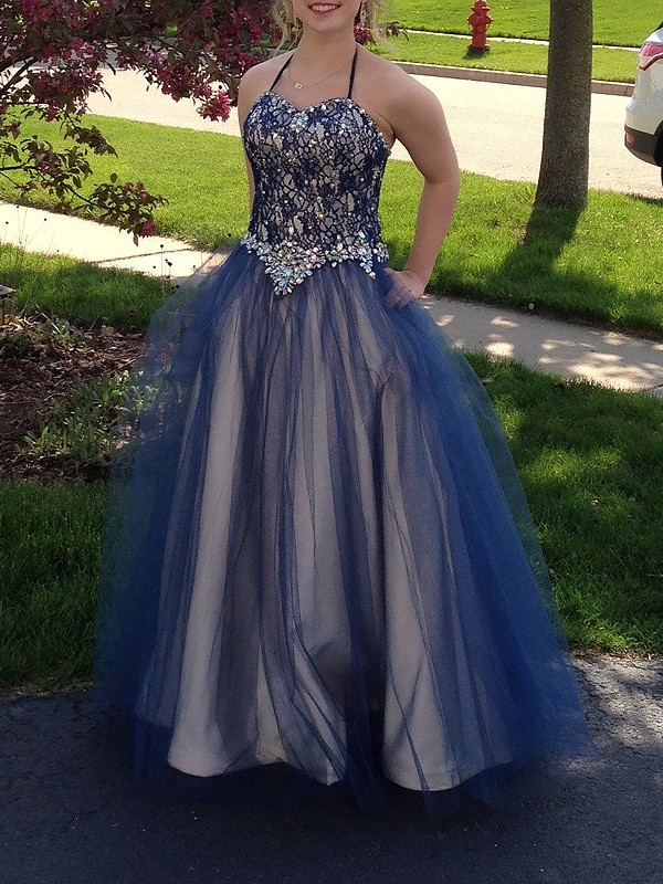 Ball Gown Tulle Spaghetti Straps Floor-Length Prom Dresses with Beading