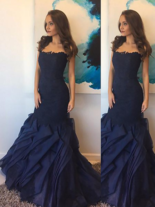 Taffeta Strapless Floor-Length Dark Navy Prom Dresses