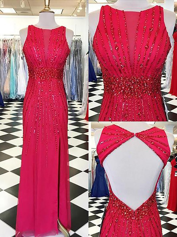 Chiffon Sheath Floor-Length Bateau Red Prom Dresses