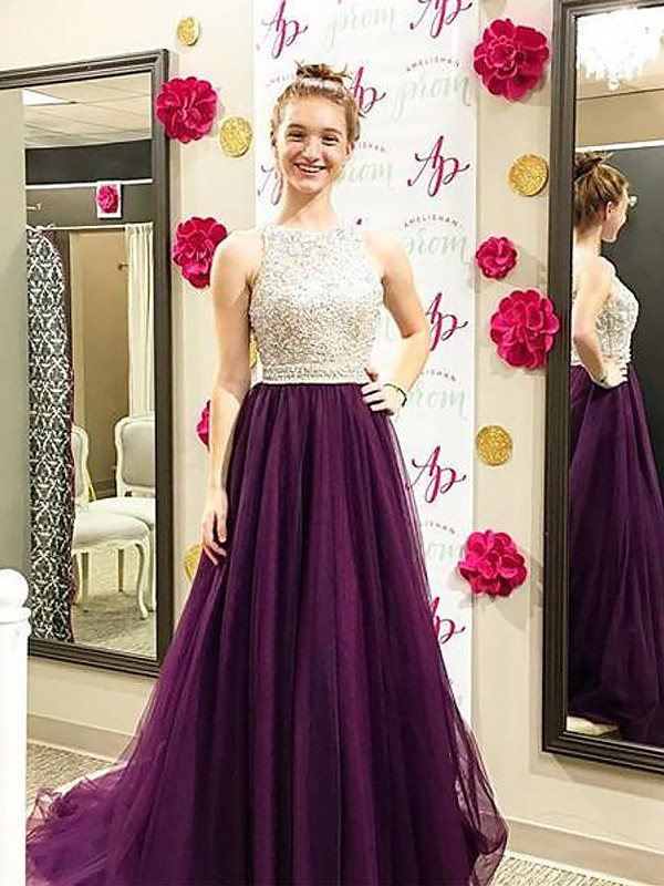 Grape Bateau Tulle Brush Train Prom Dresses