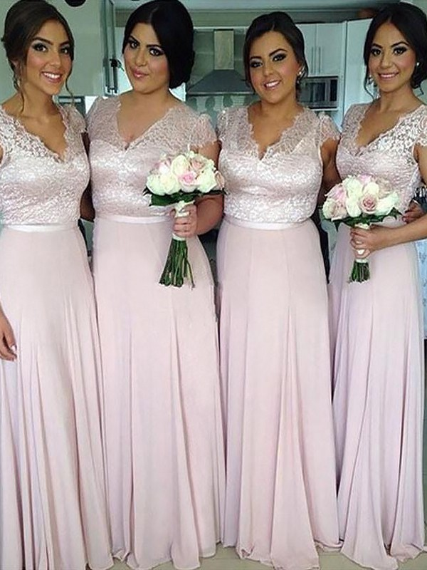 A-Line Short Sleeves V-neck Floor-Length Pink Bridesmaid Dresses