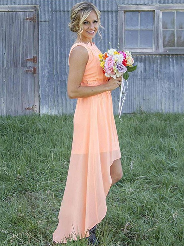 Chiffon Scoop Asymmetrical Orange Bridesmaid Dresses
