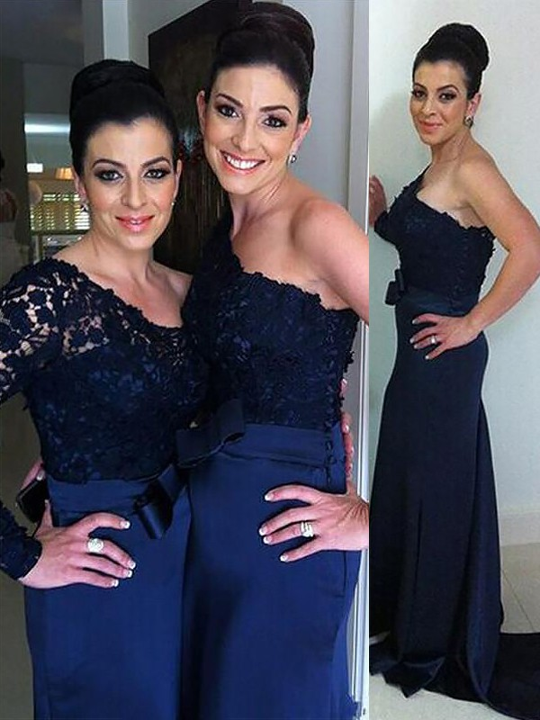 Dark Navy One-Shoulder Chiffon Floor-Length Bridesmaid Dresses