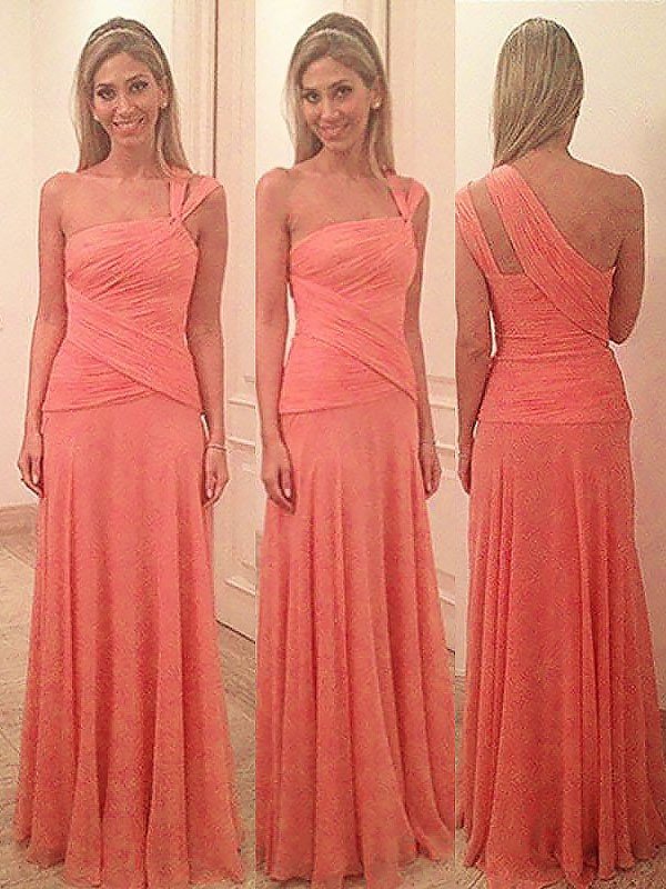 Sheath Chiffon One-Shoulder Floor-Length Watermelon Bridesmaid Dresses