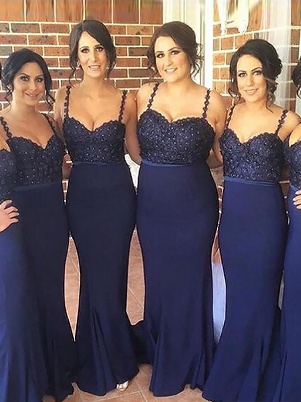 Dark Navy Spaghetti Straps Satin Brush Train Bridesmaid Dresses