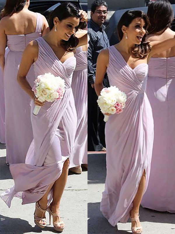 A-Line Chiffon One-Shoulder Floor-Length Lilac Bridesmaid Dresses