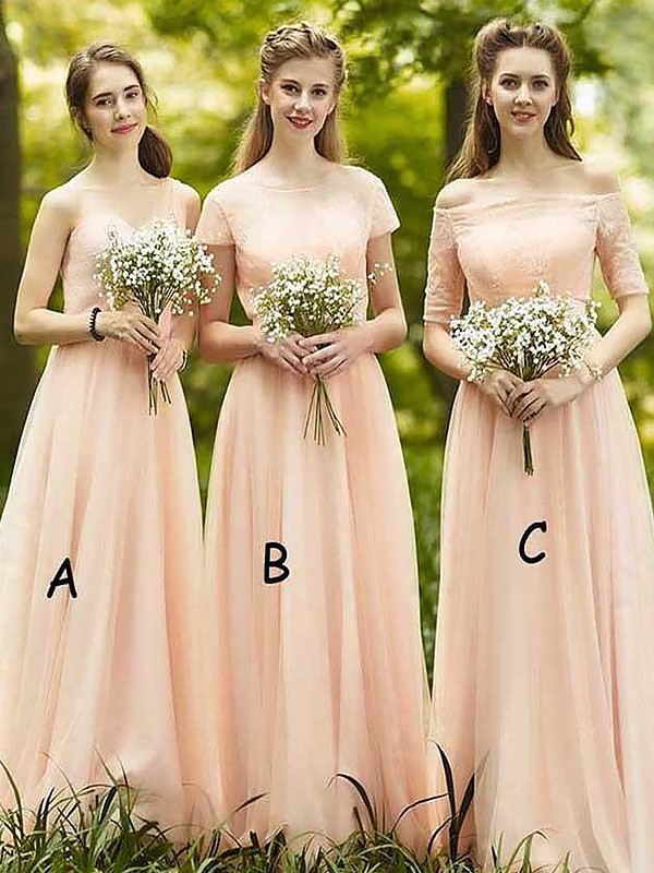 Chiffon Floor-Length Champagne Bridesmaid Dresses