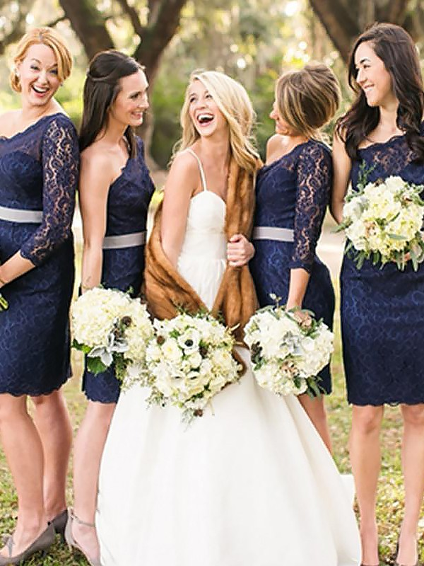 Sheath One-Shoulder Short Dark Navy Bridesmaid Dresses
