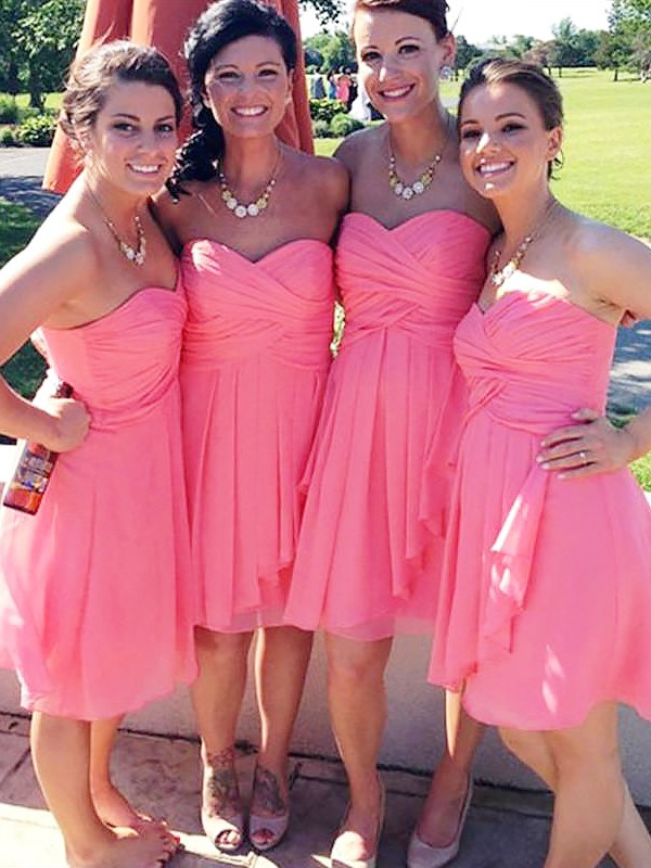 Chiffon A-Line Short Sweetheart Watermelon Bridesmaid Dresses