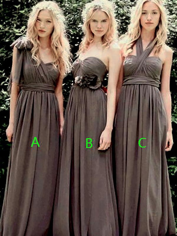 Floor-Length Brown Bridesmaid Dresses
