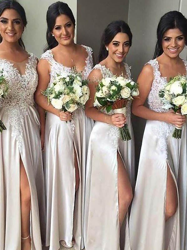 Silk like Satin Sheath Floor-Length V-neck Ivory Bridesmaid Dresses