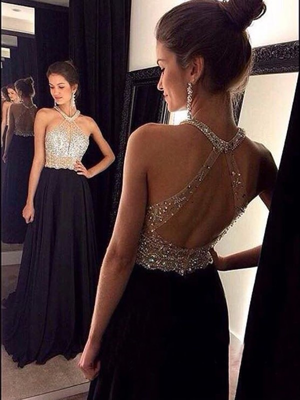 Brush Train Black Halter Prom Dresses with Beading