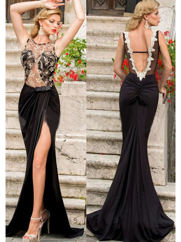 Jersey Scoop Brush Train Black Prom Dresses