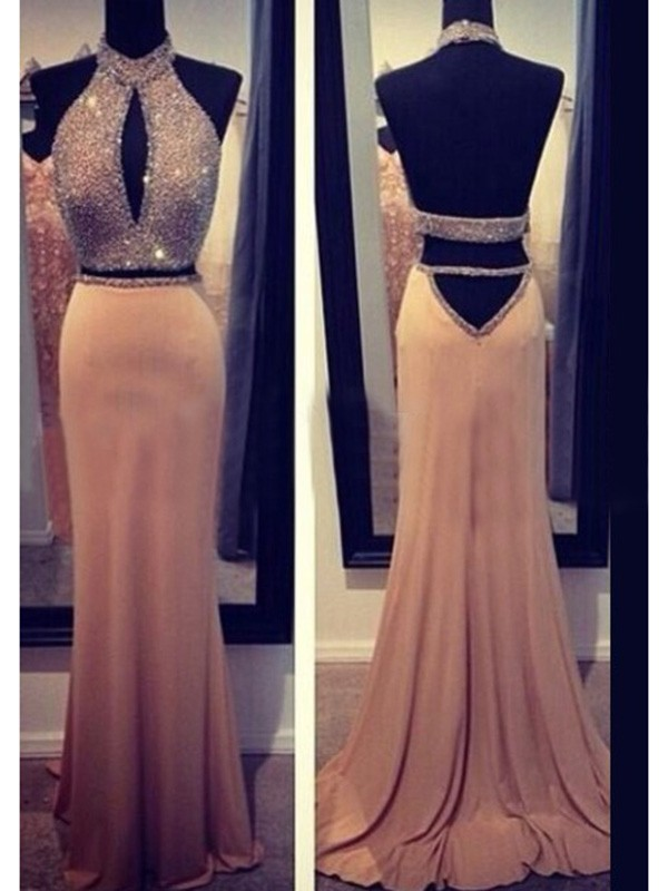 Sheath Halter Brush Train Champagne Prom Dresses