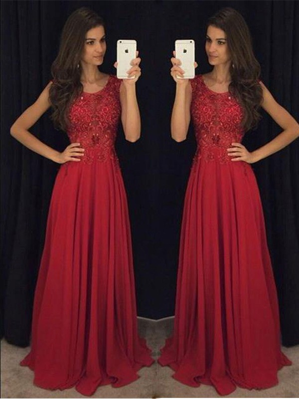 Chiffon A-Line Floor-Length Scoop Red Prom Dresses