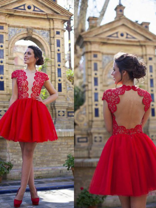 A-Line Scoop Short/Mini Red Homecoming Dresses