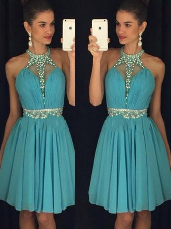 Short/Mini Blue Halter Homecoming Dresses with Beading