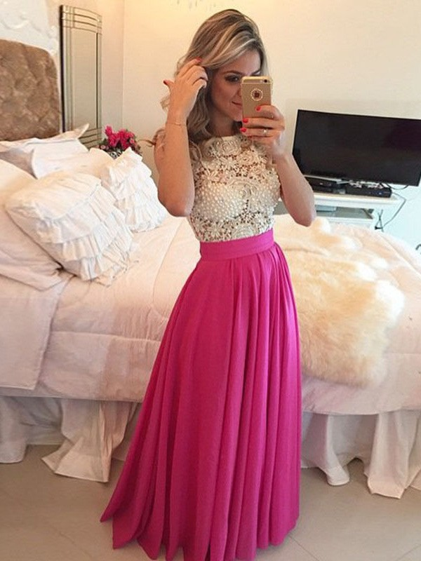 Floor-Length Watermelon Scoop Prom Dresses with Lace