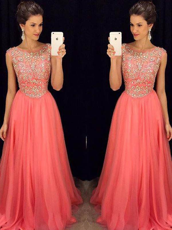 Chiffon A-Line Floor-Length Scoop Watermelon Prom Dresses