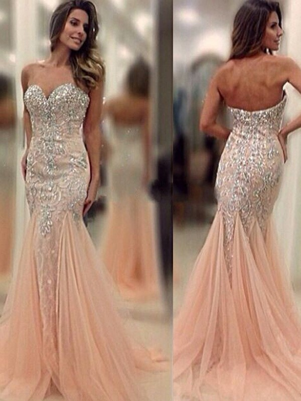 Sweetheart Brush Train Pearl Pink Prom Dresses with Beading