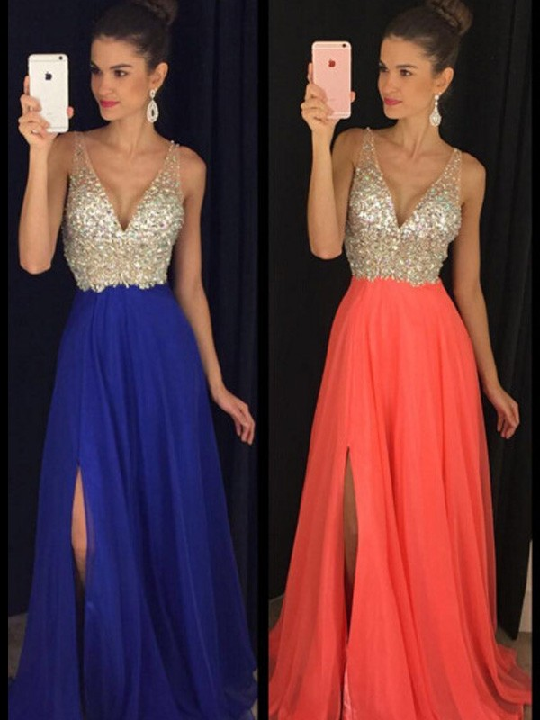 A-Line Chiffon V-neck Floor-Length Light Sky Blue Prom Dresses