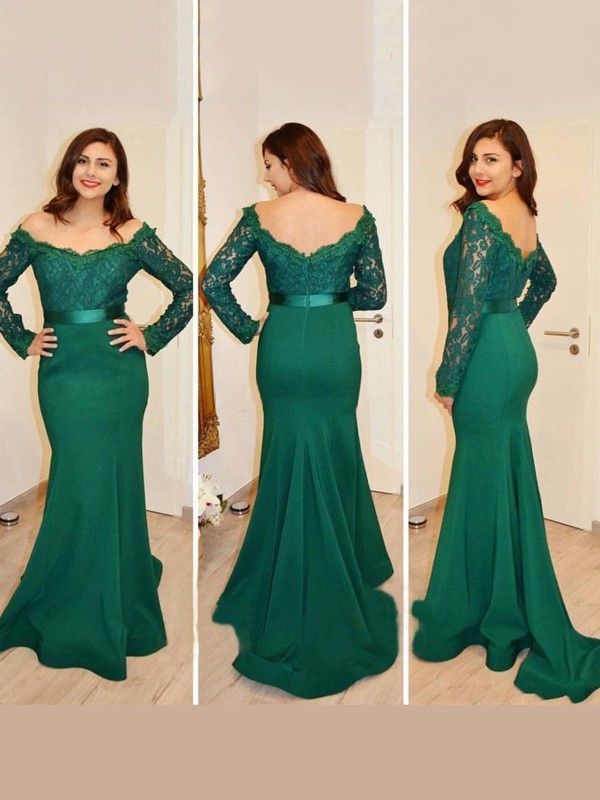 Satin Long Sleeves Off-the-Shoulder Floor-Length Green Prom Dresses