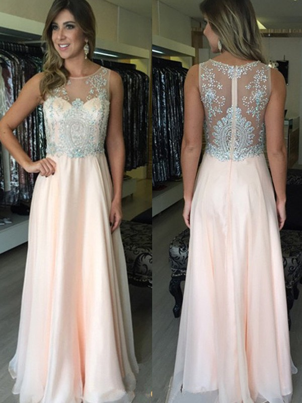 Pink A-Line Scoop Floor-Length Prom Dresses with Beading